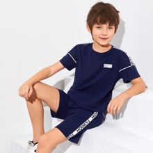 Boys Letter Tape Side Patched Detail Top & Shorts Set
