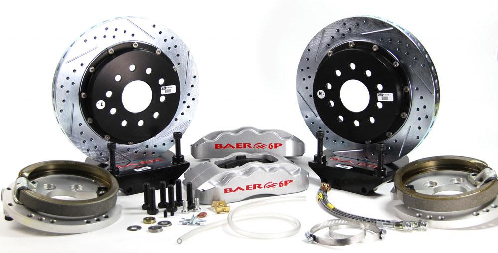 Baer Brakes Brake System 13 Inch Rear Pro+ w/Park Brake Silver 67-69 GM F Body 10 or 12 C Clip Rear End Only