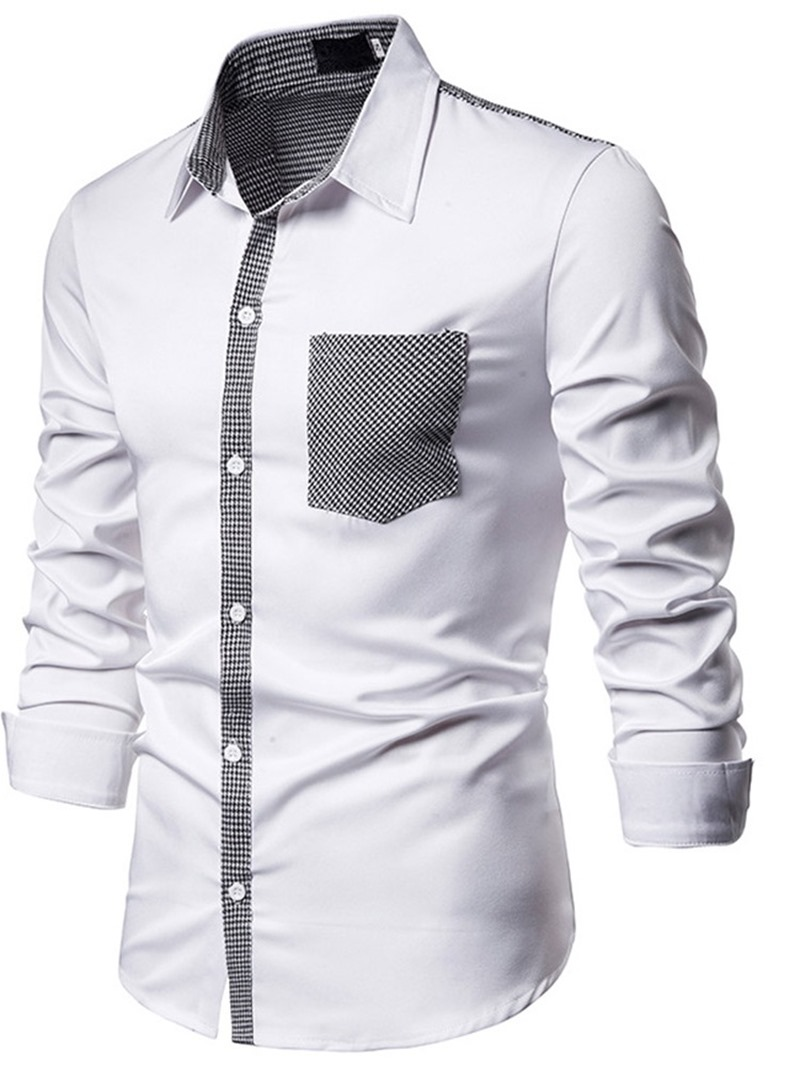 Ericdress Button Houndstooth Lapel Mens Slim Shirt