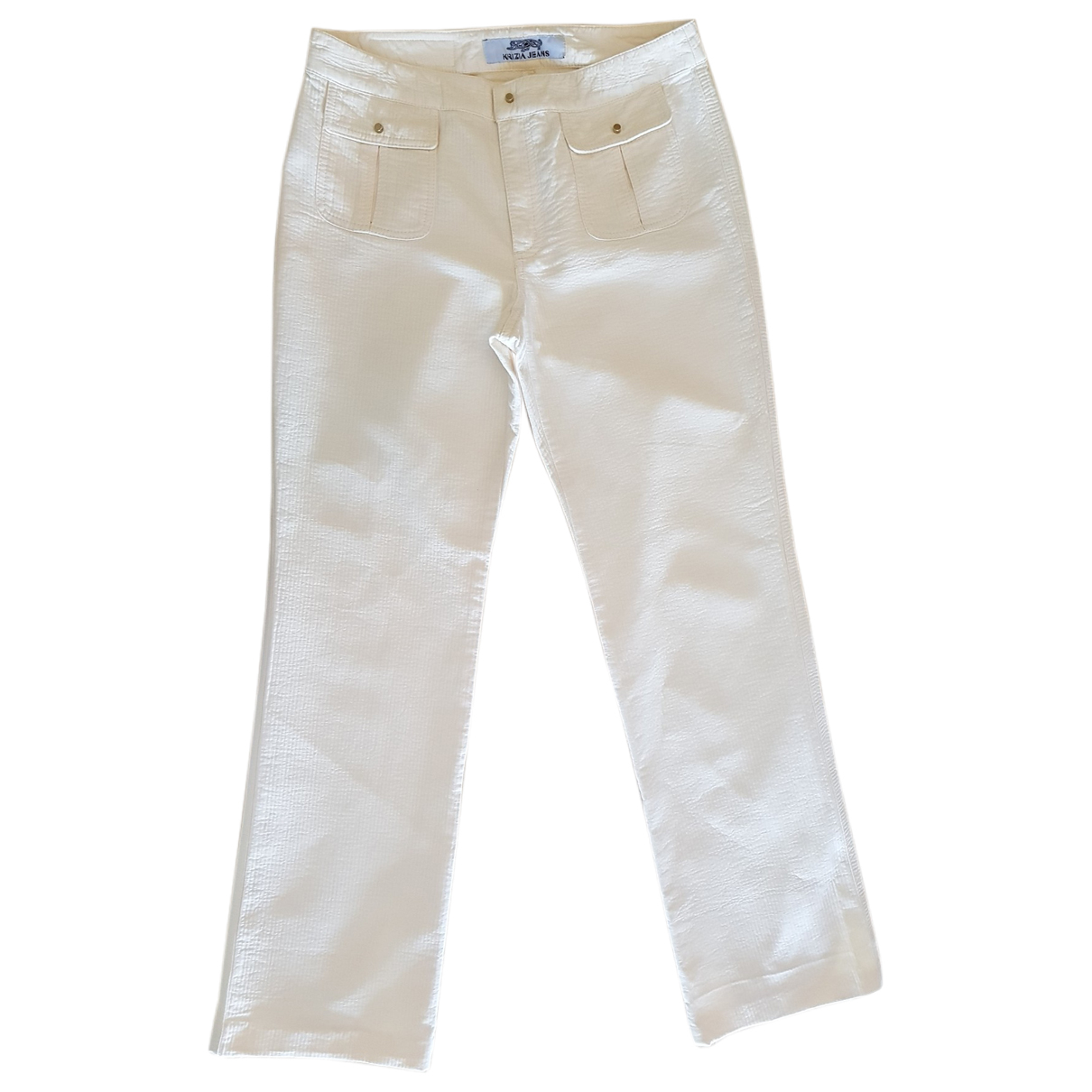 Krizia \N White Cotton Trousers for Women 42 IT