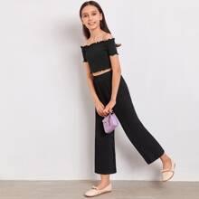 Girls Lettuce Trim Rib-knit Bardot Top & Palazzo Pants Set