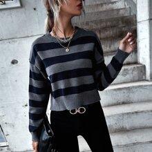 Striped Drop Shoulder Crop Sweater