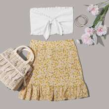 Tie Front Frill Trim Shirred Tube Top & Ditsy Floral Skirt Set
