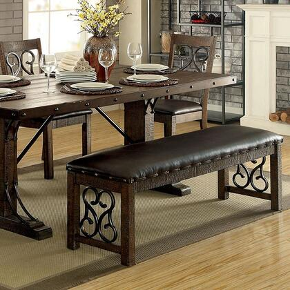 Paulina CM3465BN Bench with Traditional Style  Scroll Details  Padded Leatherette Seat Cushions  Solid Wood  Wood Veneer  Others* in Rustic