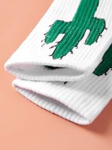 1pair Cactus Pattern Socks