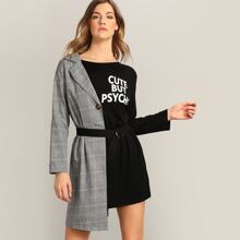 Glen Plaid & Letter Mixed O-ring Belted Asymmetrical Dress