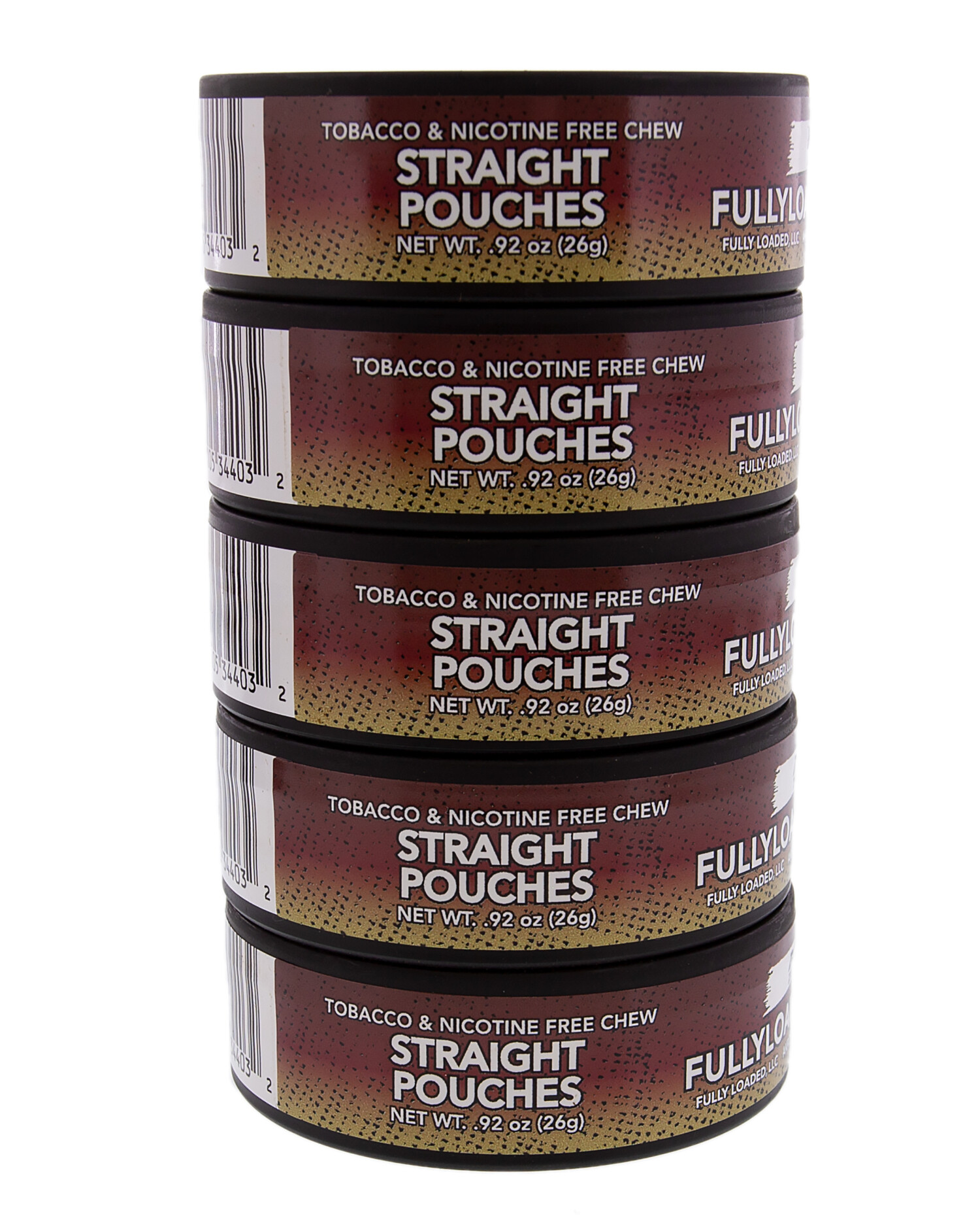Fully Loaded Chew Tobacco and Nicotine Free Straight Bullseye Pouches Authentic Flavor, Chewing Alternative-5 Cans