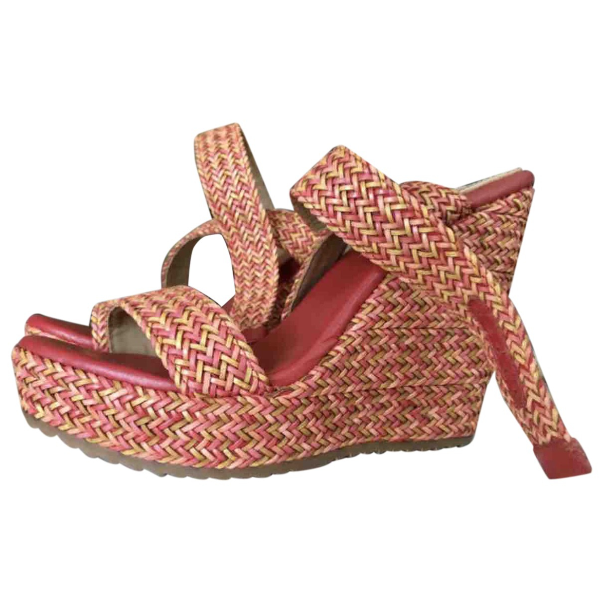 Non Signé / Unsigned \N Red Leather Sandals for Women 38 EU