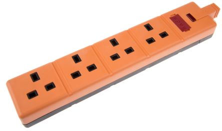 Masterplug Type G - British 4 Gang Trailing Socket, Orange
