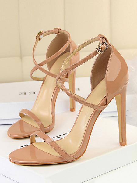 Milanoo High Heel Sandals Nude Open Toe Criss Cross Stiletto Heel Sandal Shoes For Women