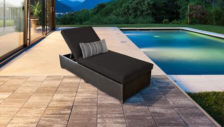 Barbados Collection BARBADOS-1x-BLACK Wicker Patio Chaise - Wheat and Black