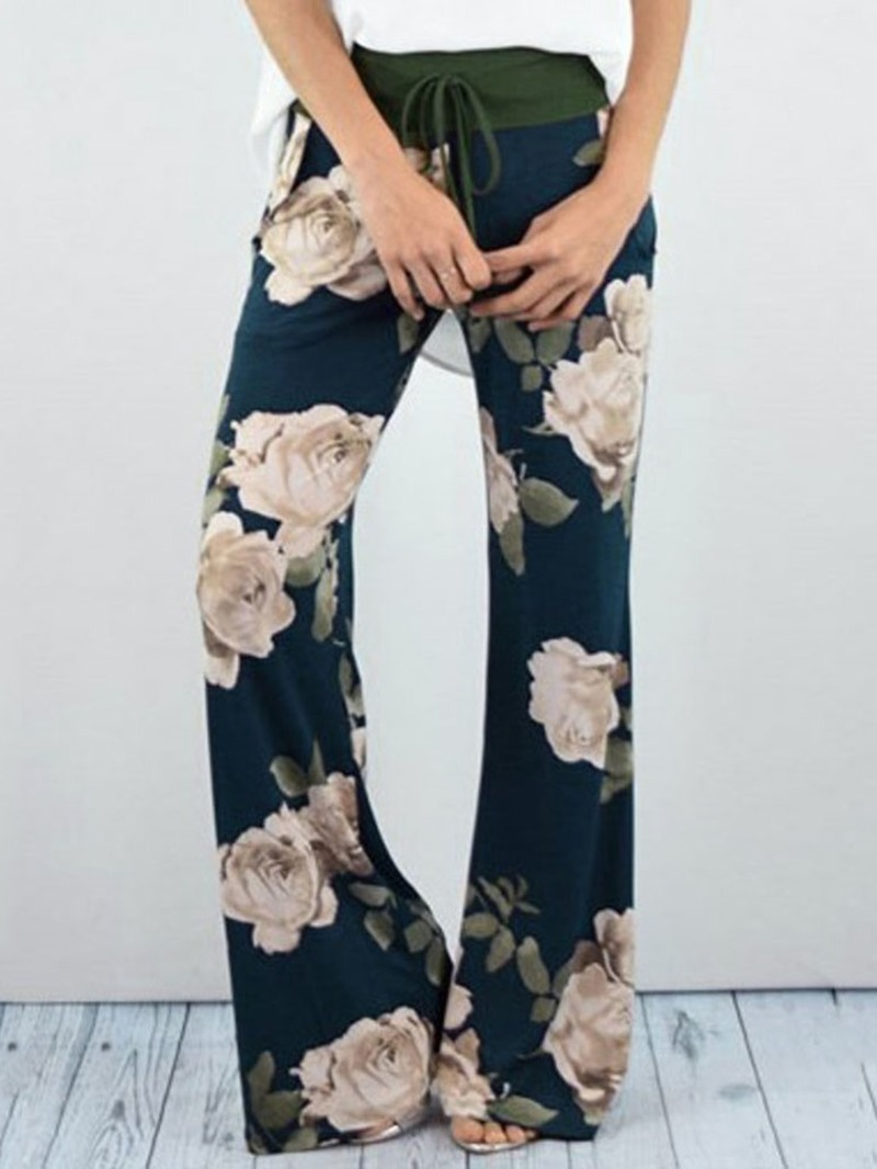Ericdress Loose Print Plant Full Length High Waist Casual Pants