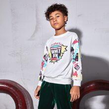 Pullover mit Buchstaben & Grafik Muster