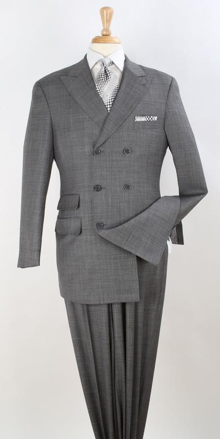 Mens Double Breasted Notch Label Gray Colour Suit