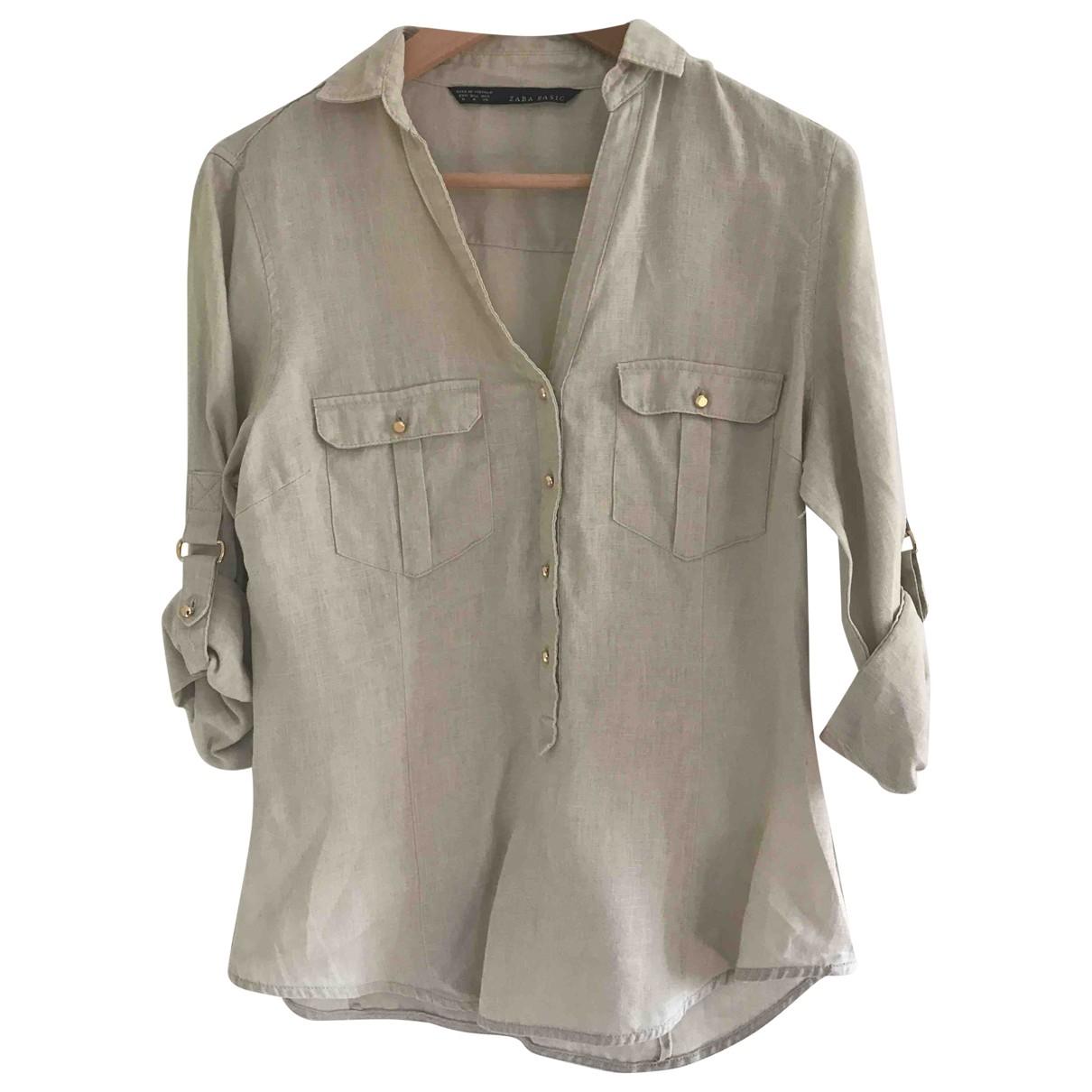 Zara \N Beige Linen  top for Women 40 FR