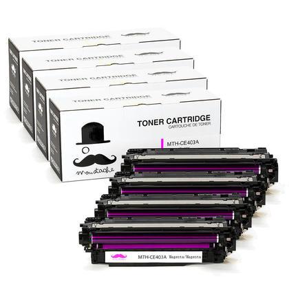 Compatible HP 507A CE403A Magenta Toner Cartridge- Moustache@ - 4/Pack