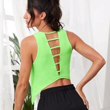 Sports T-Shirt mit Ausschnitt hinten und asymmetrischem Saum