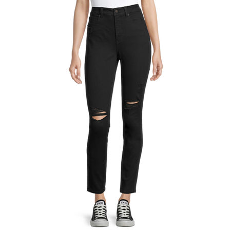 Arizona - Juniors Real Curve Womens High Rise Skinny Fit Jean, 15 , Black