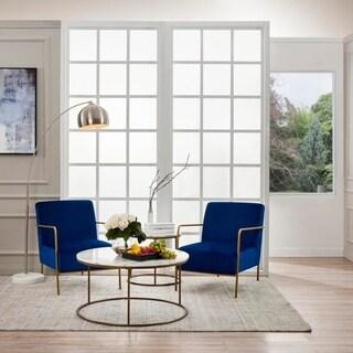 Versanora Chelsea Armchair With Metal Leg Navy Blue Fabric, Gold Finish (Navy Blue)