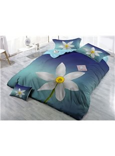 White Blooming Flower Wear-resistant Breathable High Quality 60s Cotton 4-Piece 3D Bedding Sets