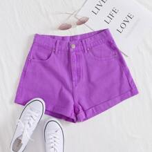 Roll Up Hem Denim Shorts