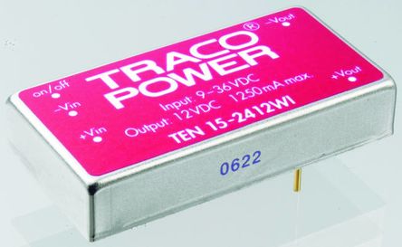 TRACOPOWER TEN 15WI 15W Isolated DC-DC Converter Through Hole, Voltage in 18 → 75 V dc, Voltage out 3.3V dc