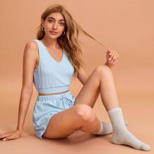 Solid Tank Top With Knot Shorts PJ Set