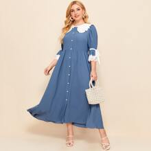 Plus Button Front Eyelet Embroidered Cuff Dress