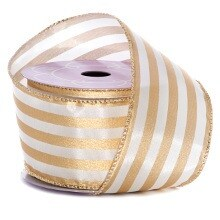 Polyester Metal Wht/Gold Kensington Strp Stn Wrd Ribbon - 2-1/2 X 10 Yards - Polyethyleneester - Embellishments & Trims by Paper Mart