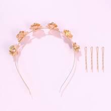 5pcs Flower Decor Hair Hoop & Hair Clip Set