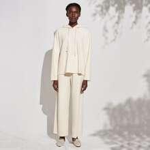 Kunstseide Sweatshirt & Hose Set mit breitem Beinschnitt