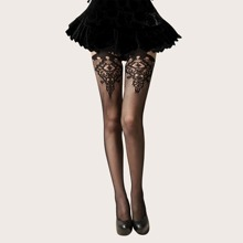 1pair Fishnet Embroidery Thigh High Stockings