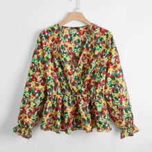Bluse mit Blumen Muster und Schosschenaermeln