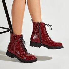 Croc Embossed Lace-up Front Side Zip Ankle Boots