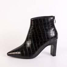 Stiefel mit spitzer Zehenpartie und Krokodil Praegung