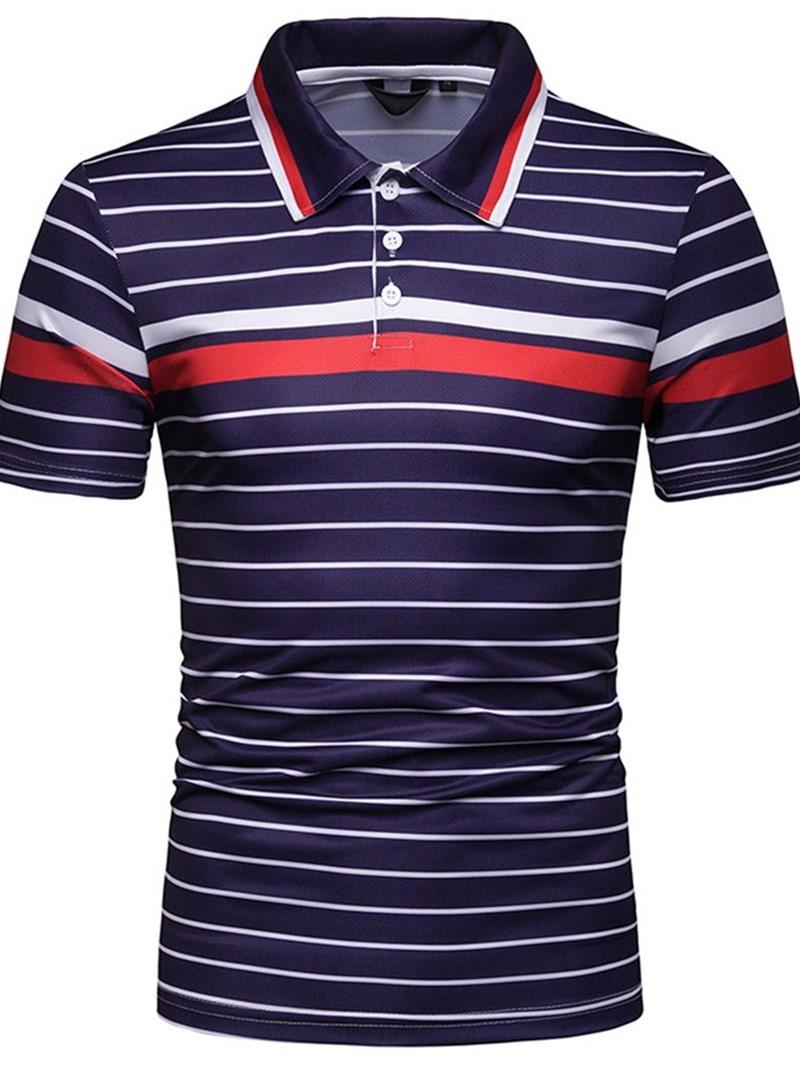 Ericdress Striped Quarter Button Mens Casual Polo Shirt