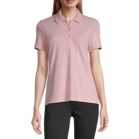 Arizona Juniors Womens Short Sleeve Knit Polo Shirt, Xx-large , Pink