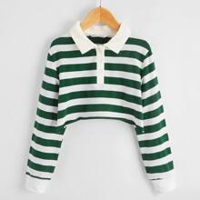 Zweifarbiges Crop Sweatshirt mit Streifen und Knopfen