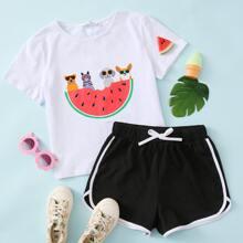 Girls Animals and Watermelon Graphic Tee & Shorts Set