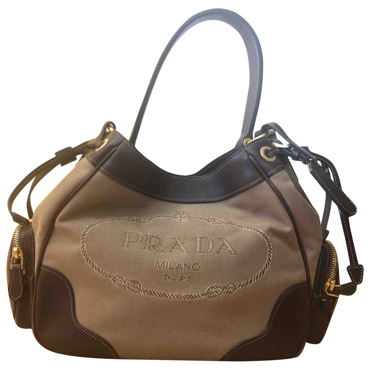 Prada - Sac a main Tessuto city pour femme en toile - kaki