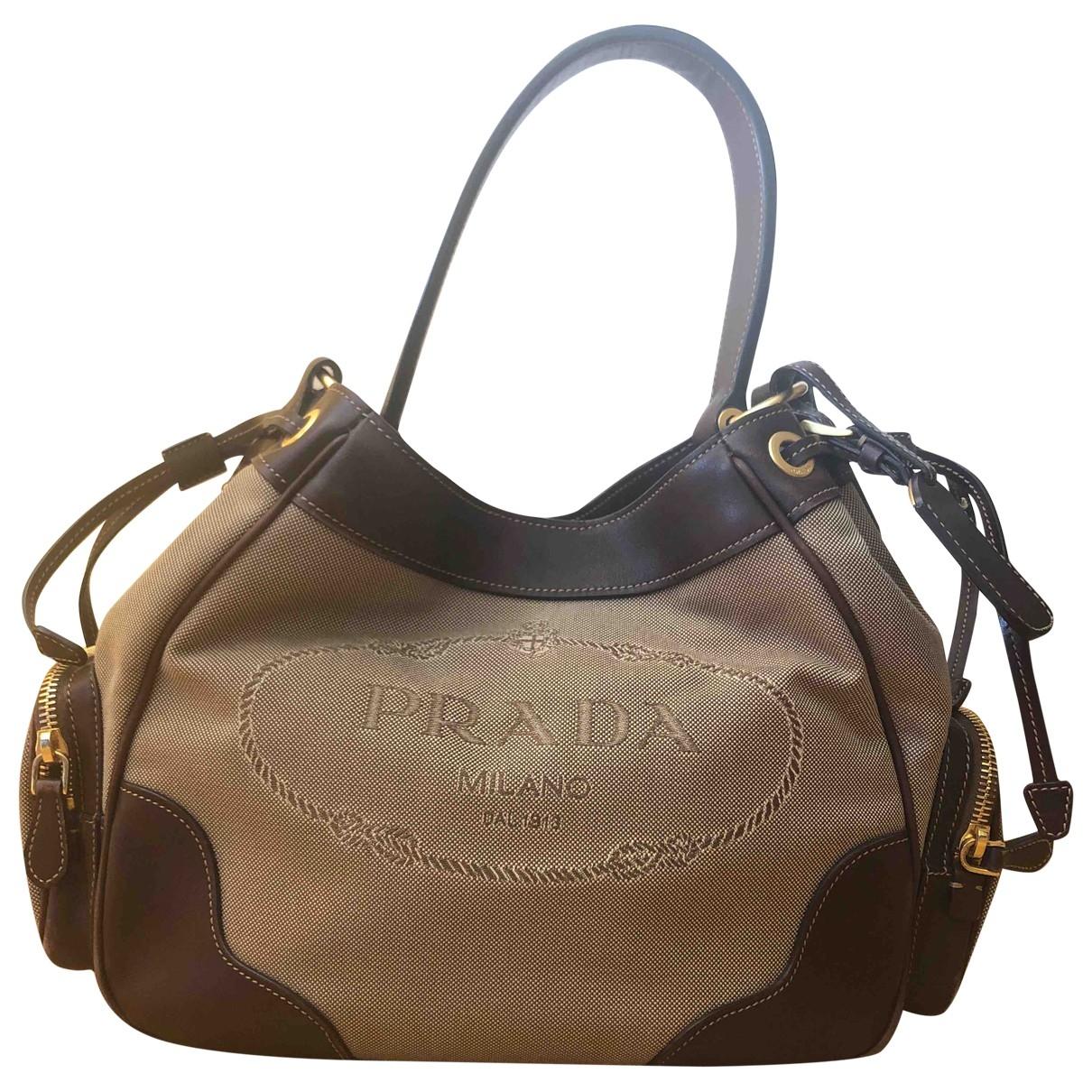 Prada Tessuto city Handtasche in  Khaki Leinen