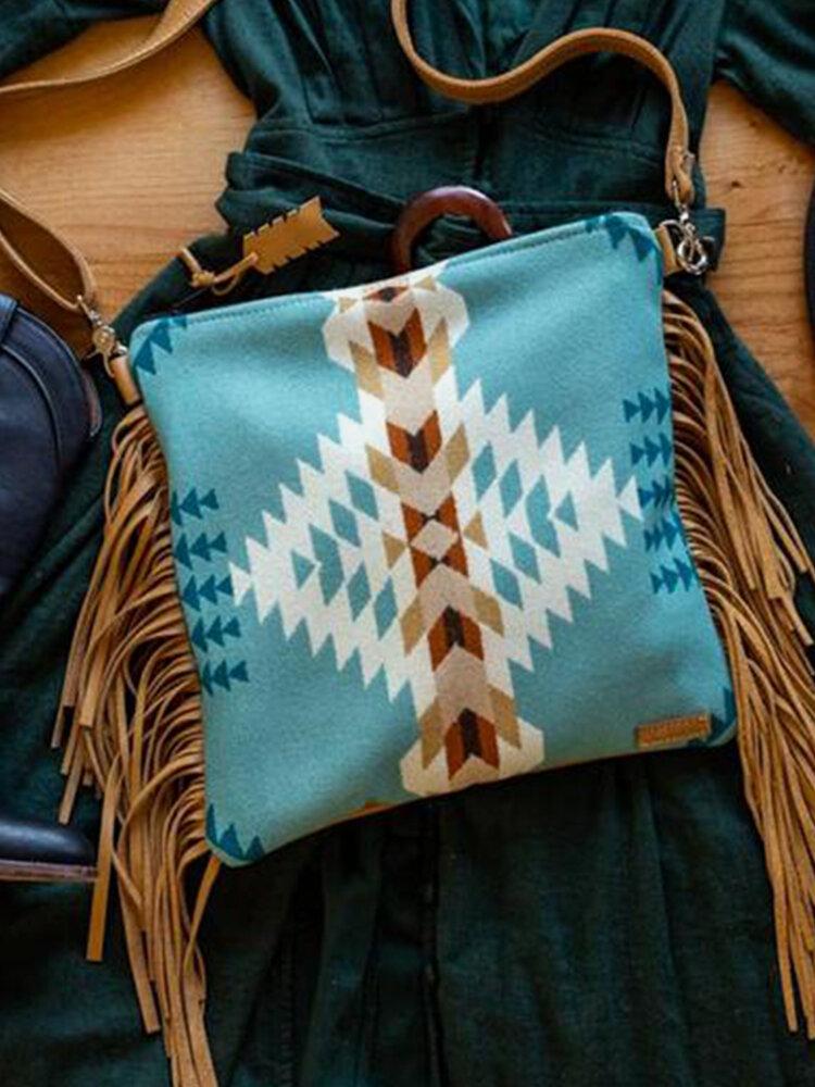 Women Felt Geometric Tassel Patchwork Crossbody Bag Handbag Shoulder Bag Tote