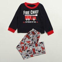 Homewear de niño pequeño Ribete en contraste Dibujos animados Dulce