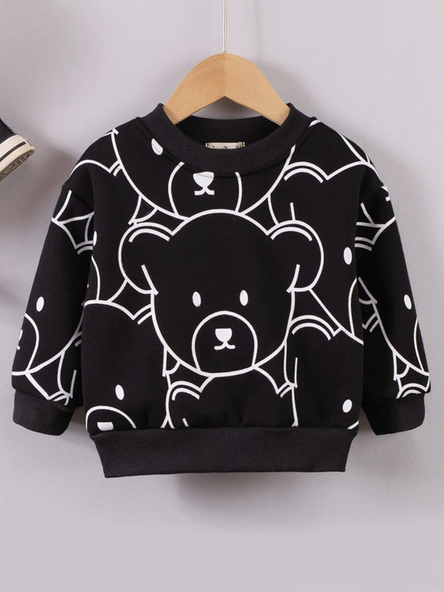 LW Lovely Casual O Neck Cartoon Print Black Boy Hoodie