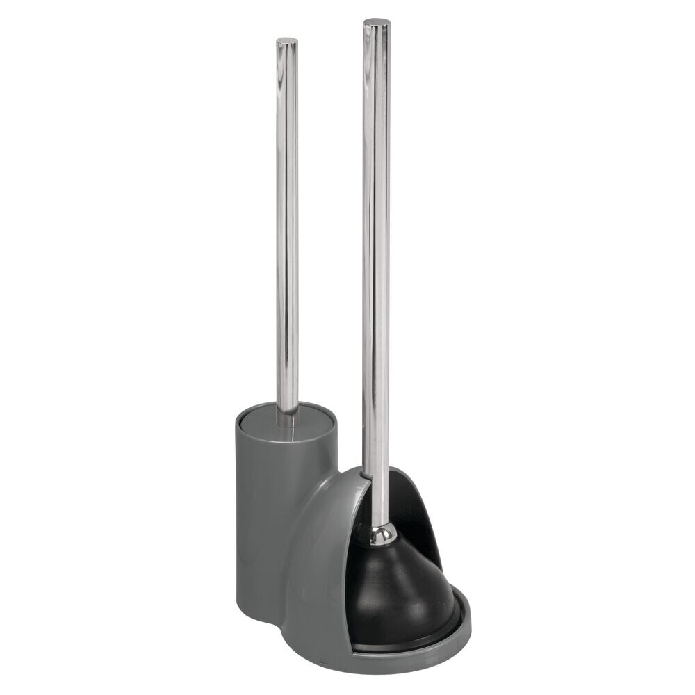 Compact Toilet Bowl Brush / Plunger Combo Set in Charcoal/Brushed, 7.5
