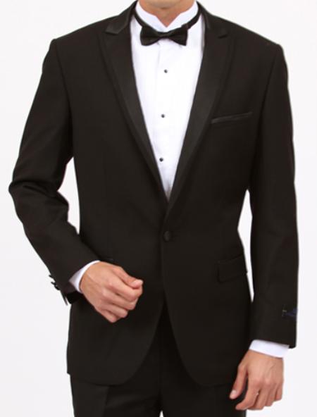 Peak lapel flat front pants 1 Button Slim Fit Black Tuxedo
