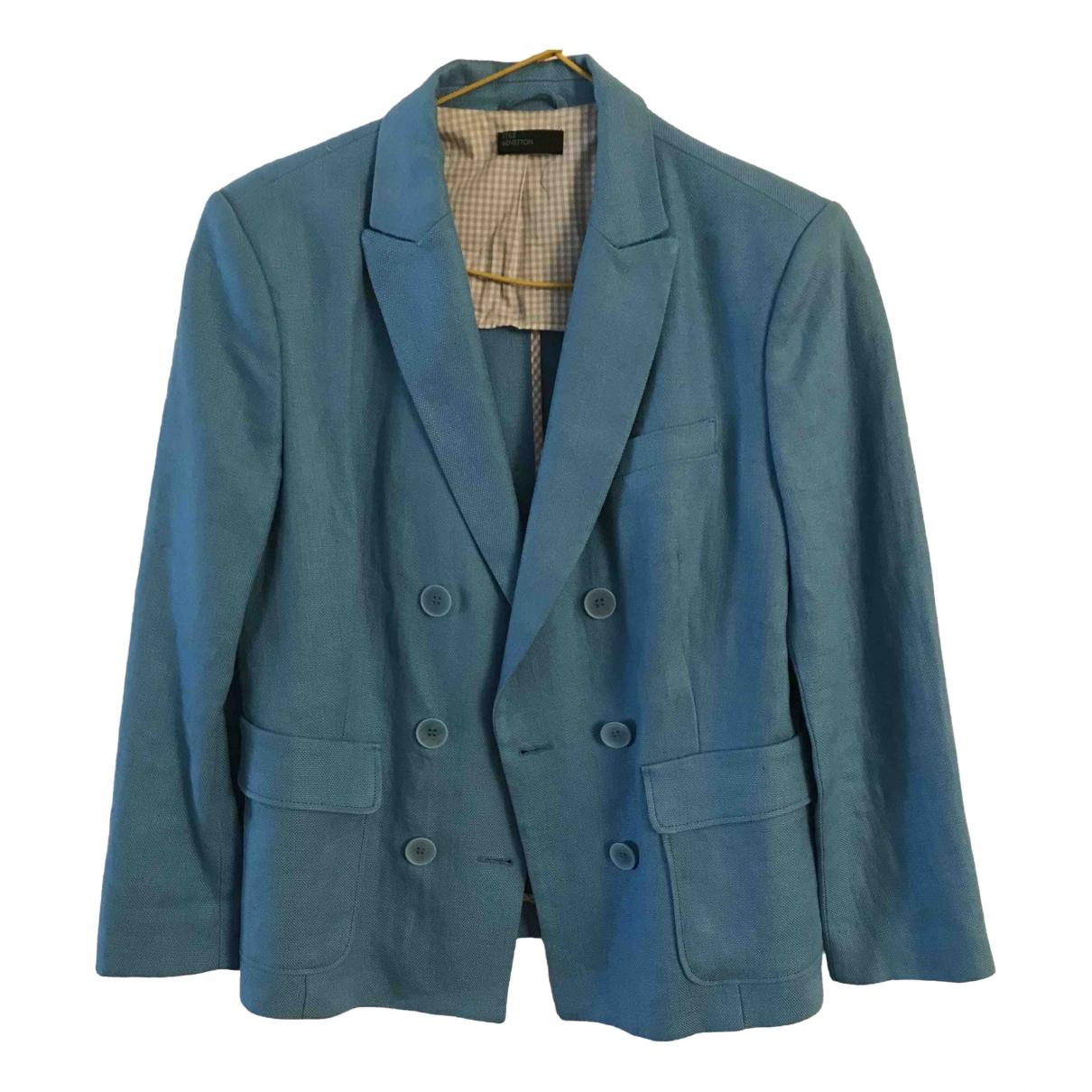 Benetton - Veste   pour femme en lin - bleu