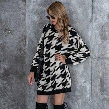 Drop Shoulder Houndstooth Knit Dress