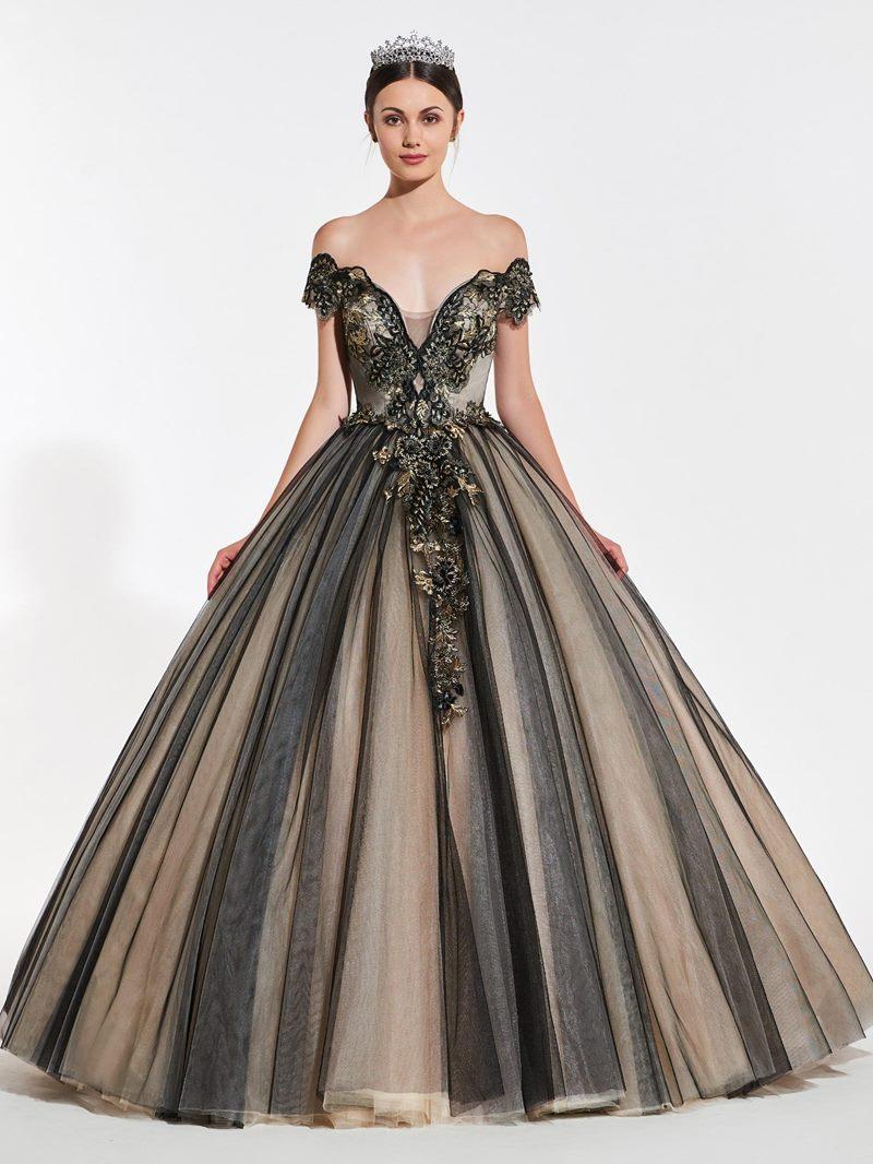 Ericdress Vintage Off The Shoulder Applique Ball Quinceanera Dress