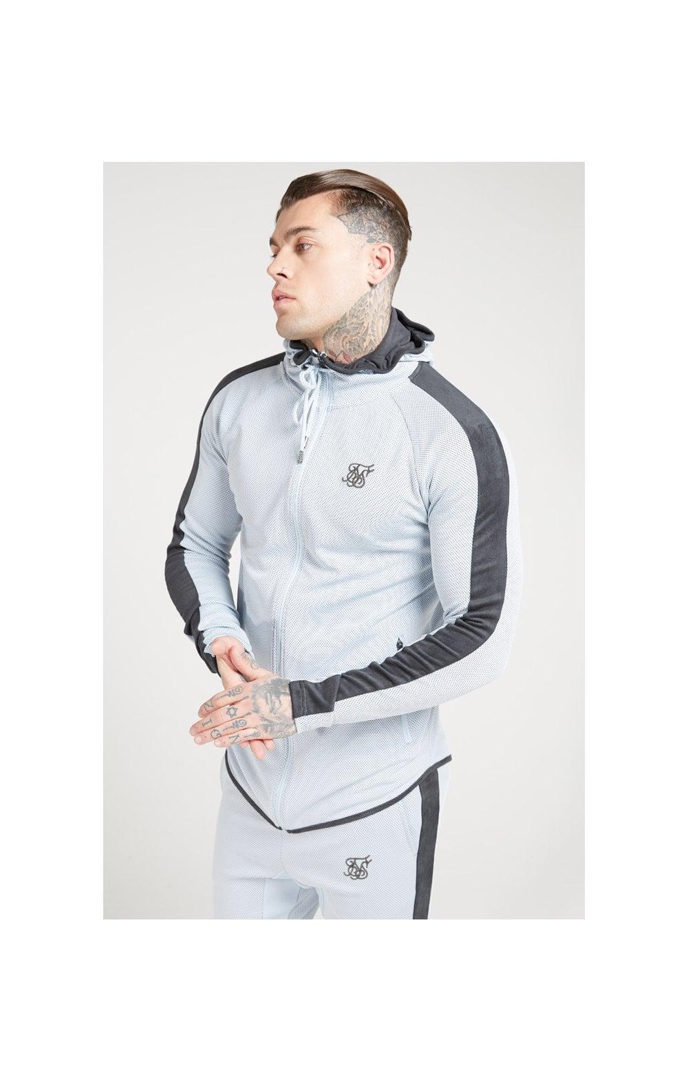 SikSilk Athlete Eyelet Zip Through Hoodie  Ice Grey & Charcoal MEN
